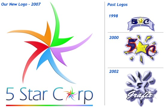 5 Star Corp logos, Past and Present